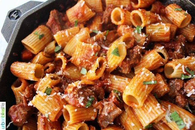 Rigatoni with Italian Sausage in a skillet