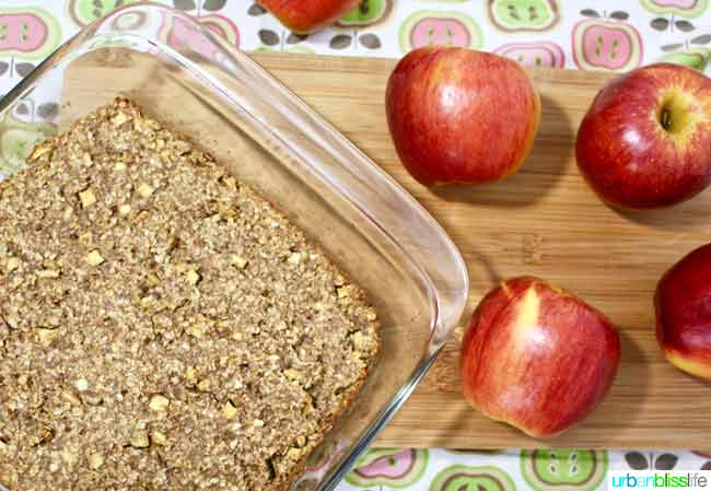 Chewy Apple Granola Bars in glass baking pan