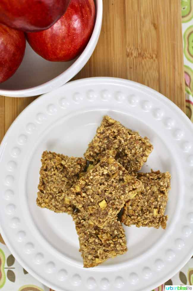 Chewy Apple Granola Bars on plate