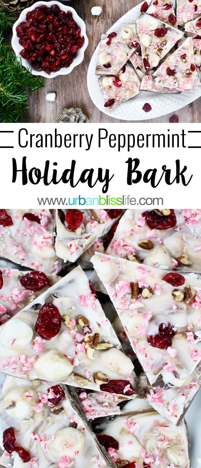 This Cranberry Bark with Peppermint is a fast, easy, elegant, and delicious holiday treat that makes a great holiday gift! Recipe on http://UrbanBlissLife.com