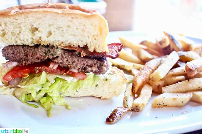 burger at Sisters Saloon