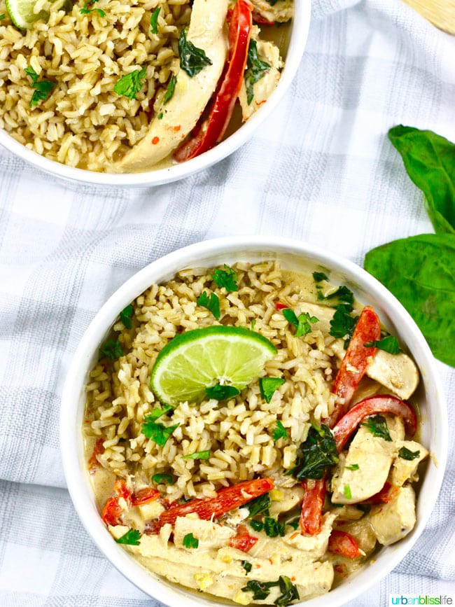 Healthy Hearty Meals - Thai Coconut Chicken recipe on UrbanBlissLife.com
