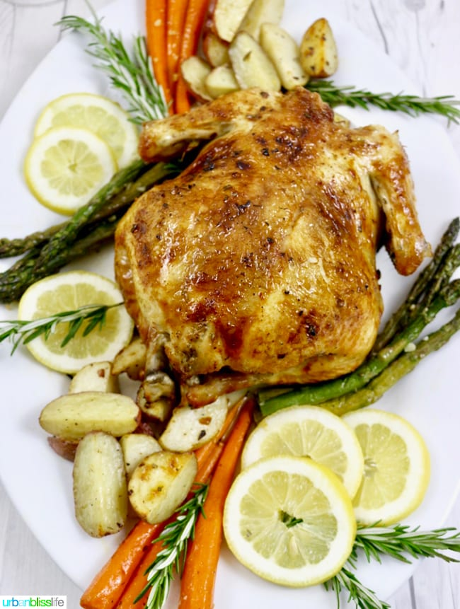 Easy Lemon Herb Roasted Chicken with roasted vegetables, recipe on UrbanBlissLife.com