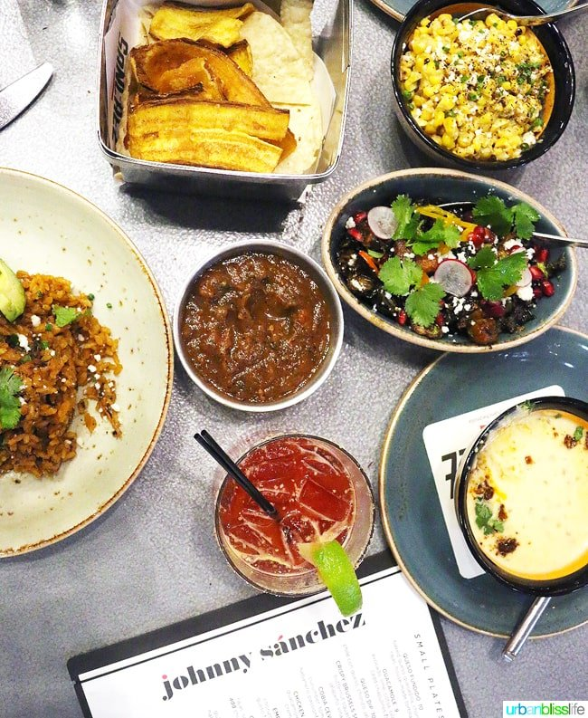 Plates and bowls of Mexican food at Johnny Sanchez New Orleans Restaurant
