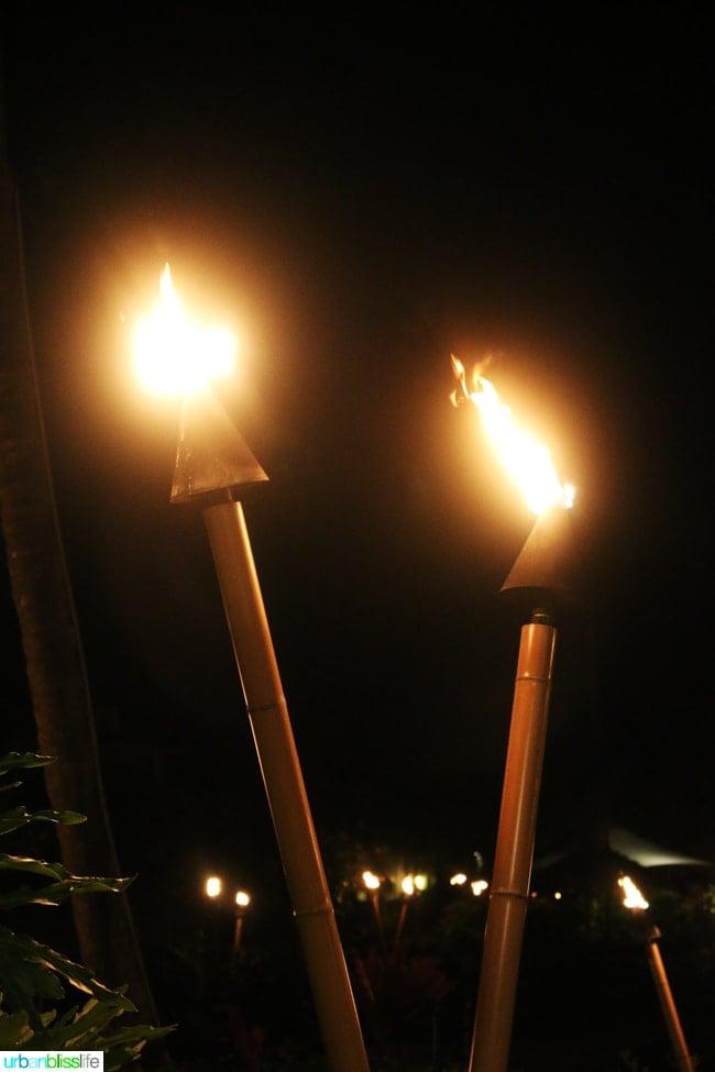 tiki torches lit up at night