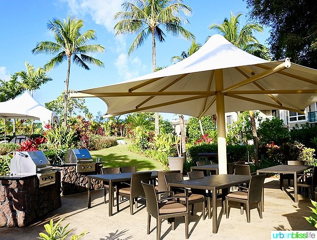 outdoor seating and grill in Kauai Hawaii