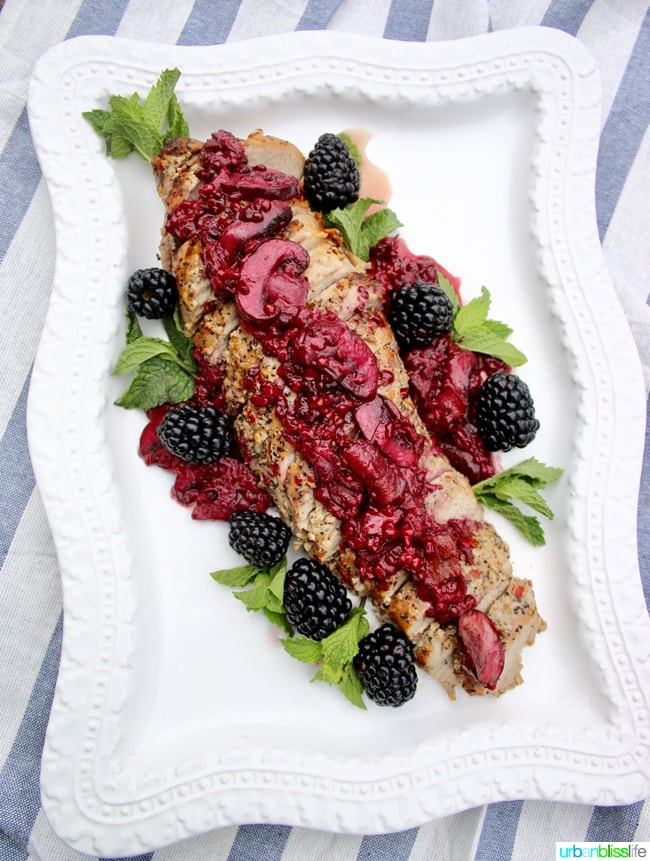 Pork Tenderloin with Blackberry Bacon Sauce recipe on UrbanBlissLife.com