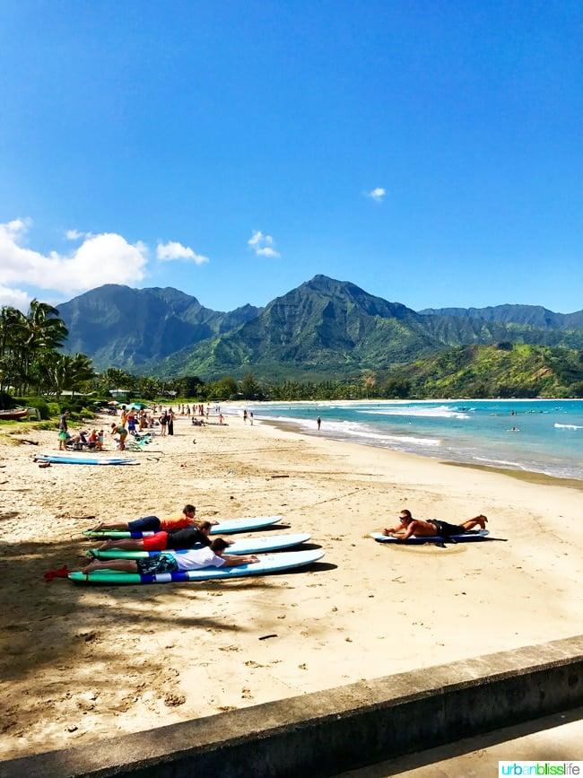 Surf Lessons Hanalei Bay Kauai Hawaii adventures on UrbanBlissLife.com