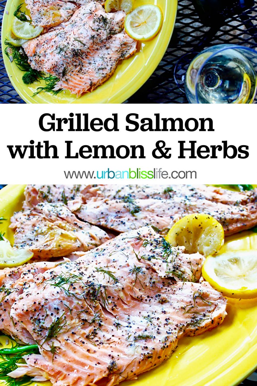 main graphic for grilled salmon with lemon and herbs recipe