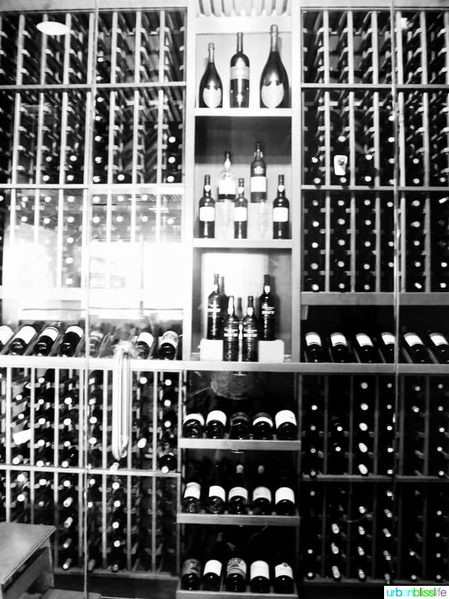 wine bottles in storage rack