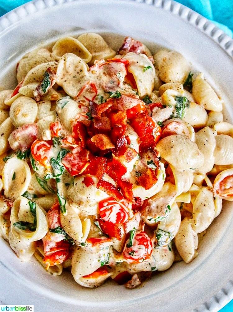 BLT pasta salad in a bowl