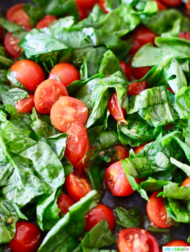 cherry tomatoes and spinach for pasta salad