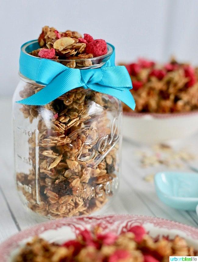 Homemade granola in mason jar