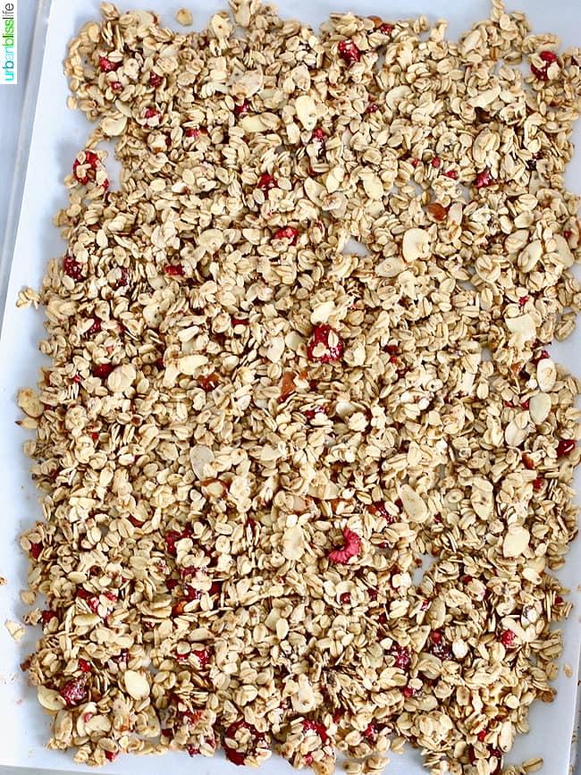 homemade granola on baking sheet