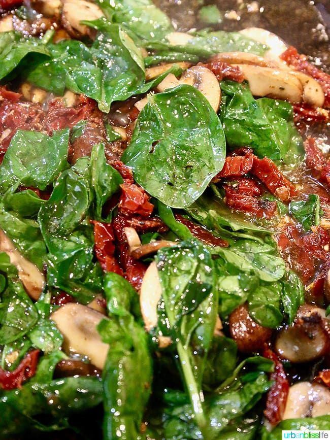 Sundried Tomatoes and Spinach in pan