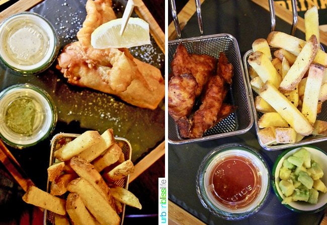 Fish and chips at Hotel Pickwick in Lucerne, Switzerland
