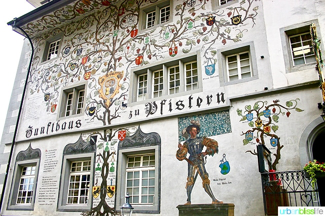 artistic facade of building in lucerne