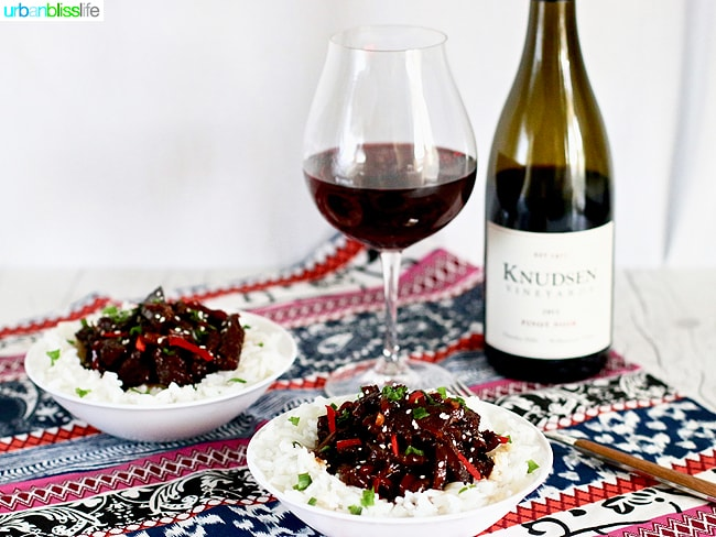 Mongolian Beef and red wine