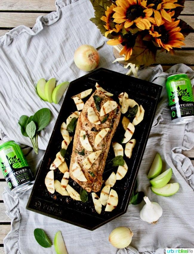 Grilled Pork Tenderloin with Hard Cider, Apples and Sage on UrbanBlissLife.com