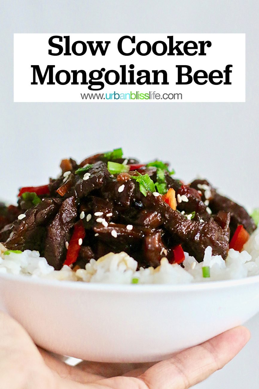 hand holding a bowl of Slow Cooker Mongolian Beef