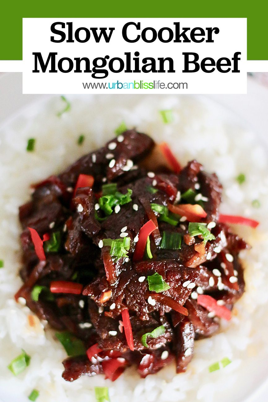 head-on shot of Slow Cooker Mongolian Beef and rice
