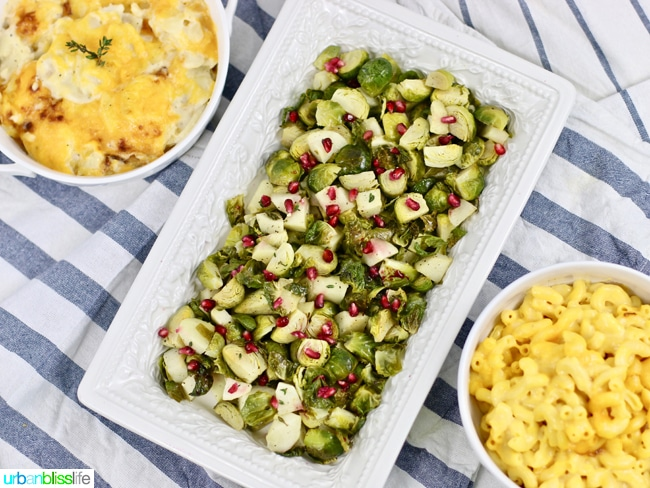 Roasted brussels sprouts with apples with mac and cheese