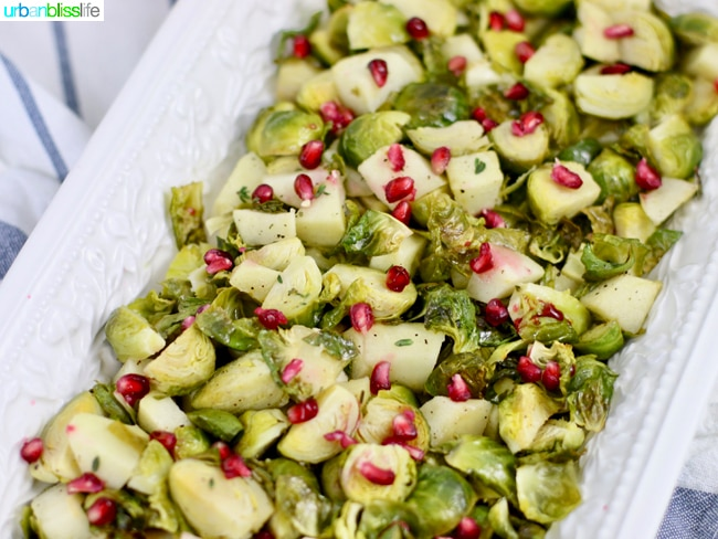 Roasted brussels sprouts with apples and pomegranate, recipe on UrbanBlissLife.com