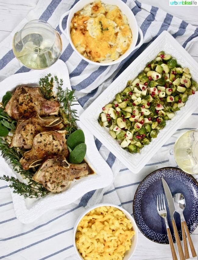 Apple cider pork chops with side dishes