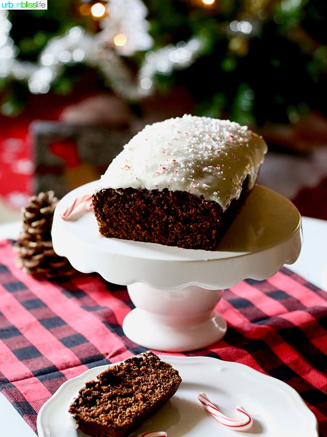 Gingerbread Loaf with Peppermint Cream Cheese Frosting