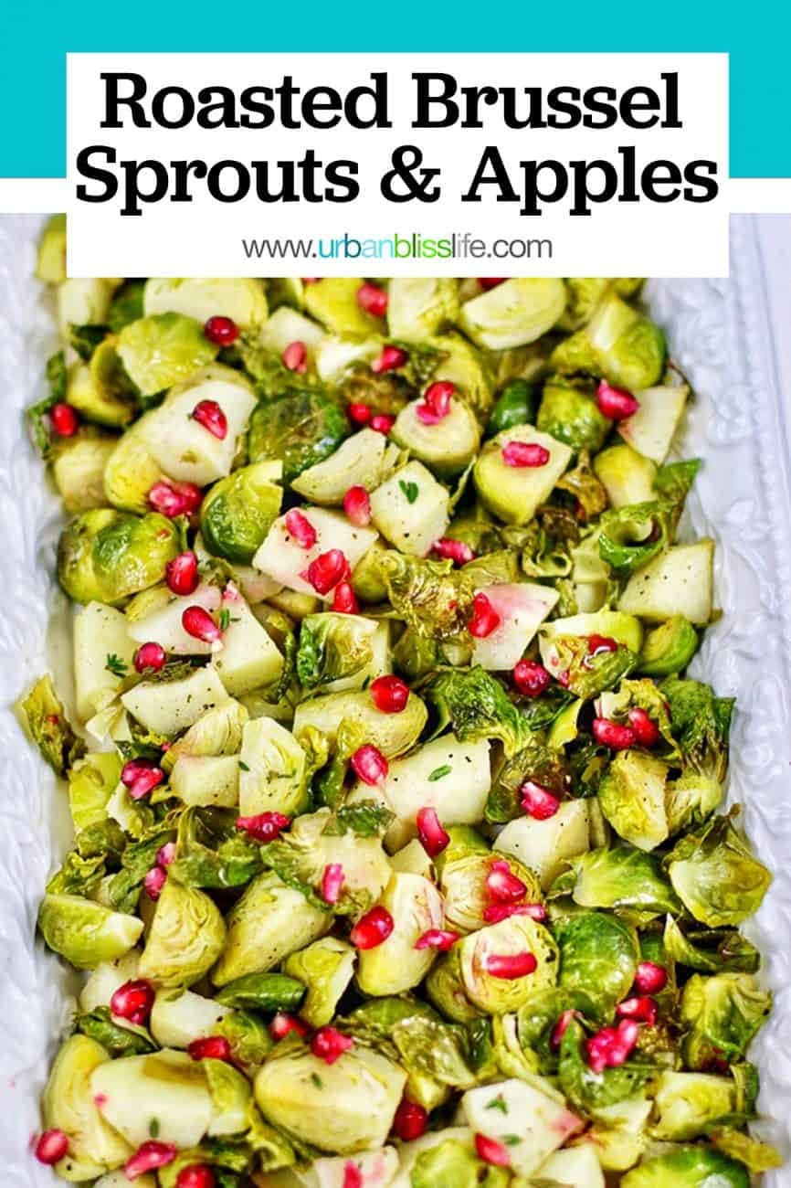 serving platter with roasted brussels sprouts, apples, pomegranate and title text