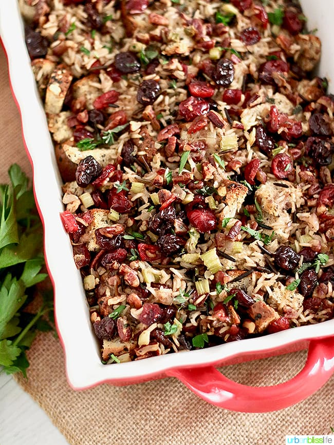 Wild Rice Dressing with Cranberries, Cherries, and Pecans