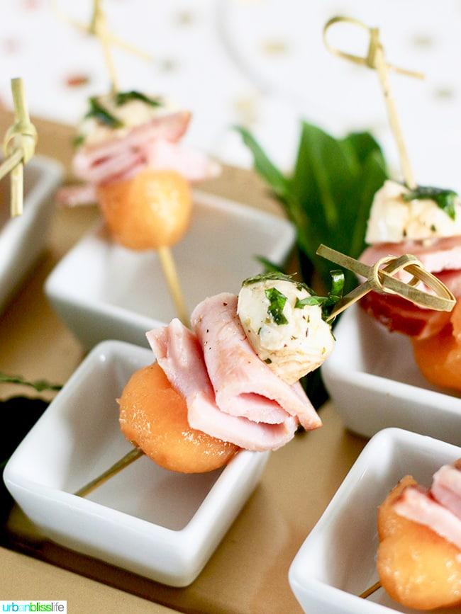 Ham, Melon, Mozarella Bites