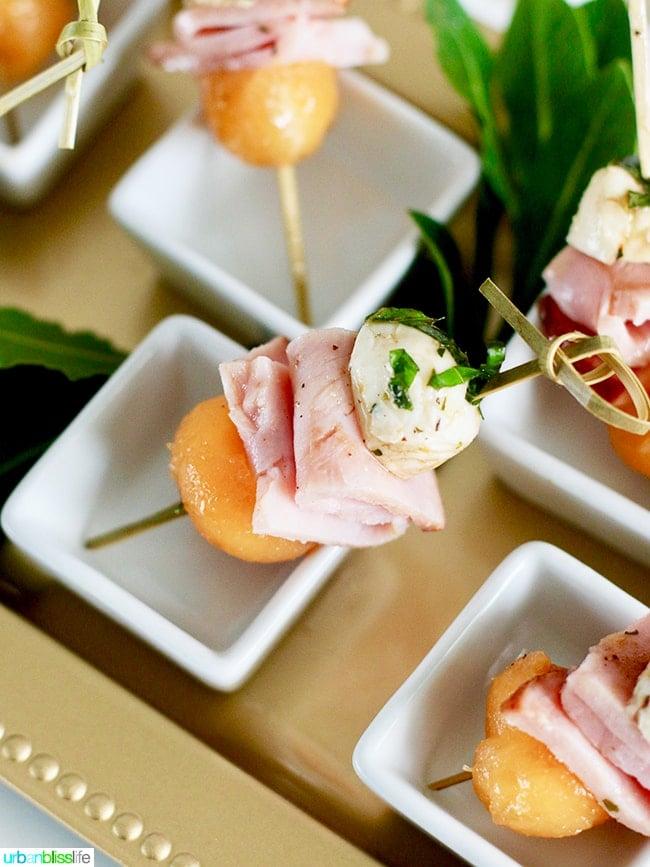 Ham, Melon, Mozarella Bites elegant appetizers