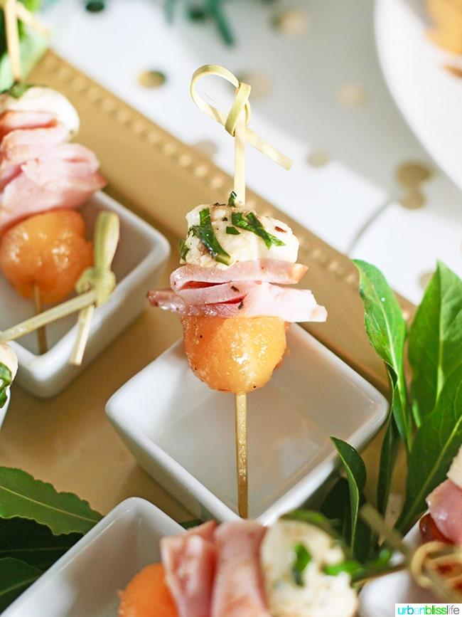 Ham, Melon, Mozarella Bites elegant appetizers recipe on UrbanBlissLife.com