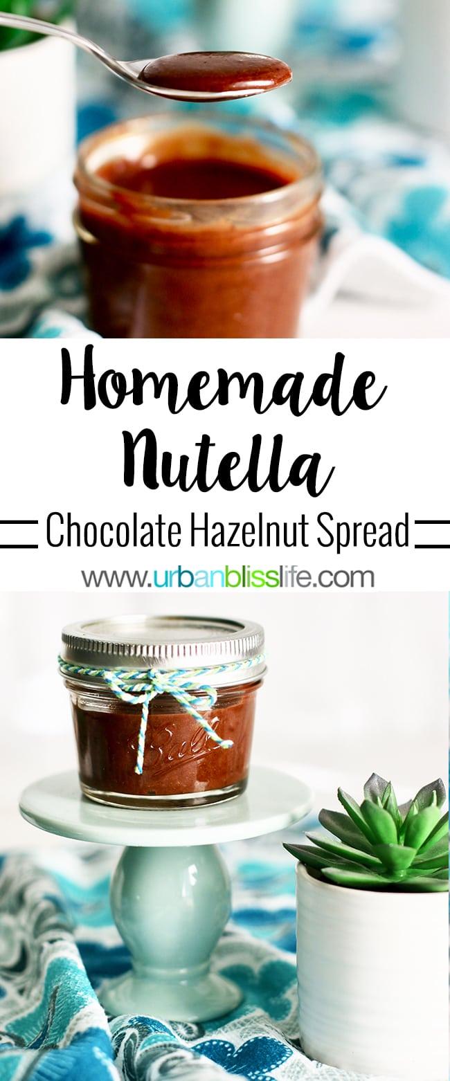 Homemade chocolate hazelnut spread recipe on UrbanBlissLife.com