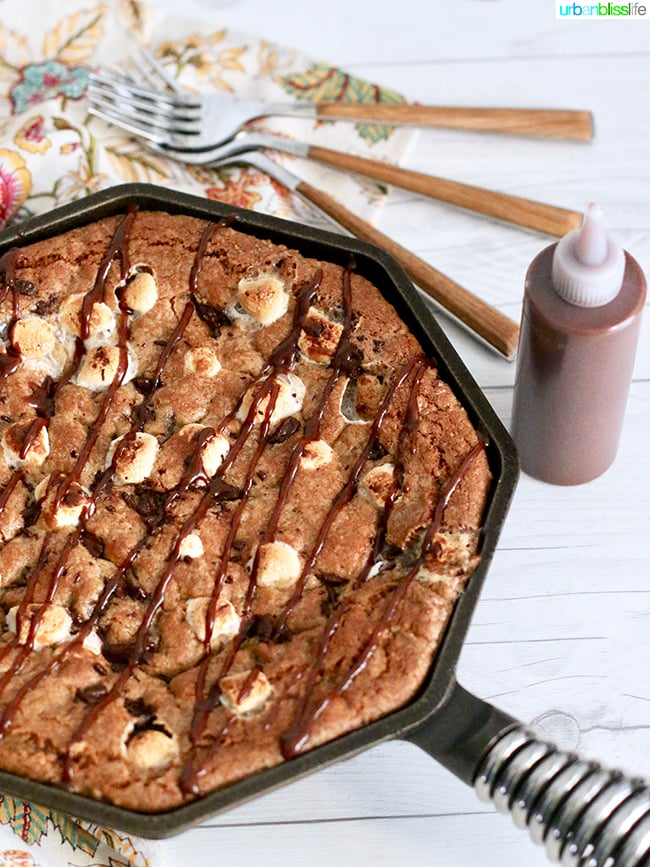 S'mores Skillet Pie with chocolate hazelnut spread drizzle