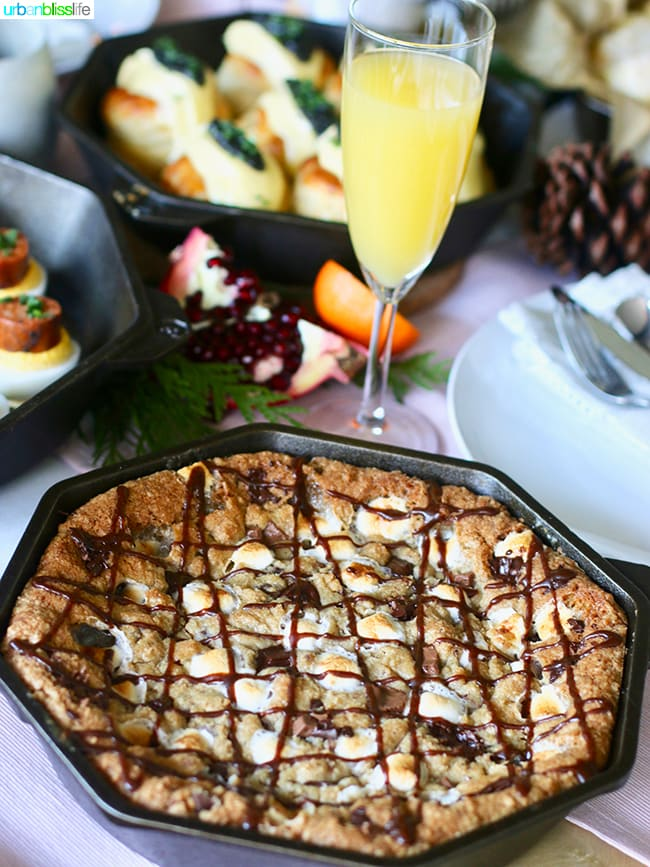 S'mores Skillet pie with mimosa