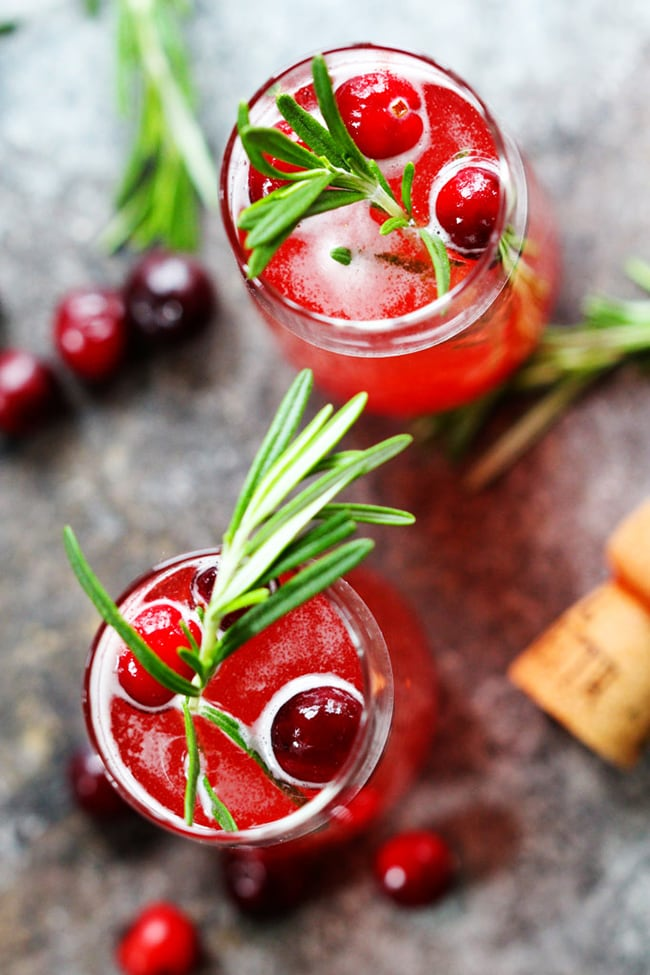 Cranberry Ginger Bellini - 20 Festive Holiday Party Cocktails