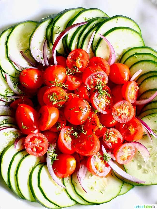 Cucumber tomato salad close up