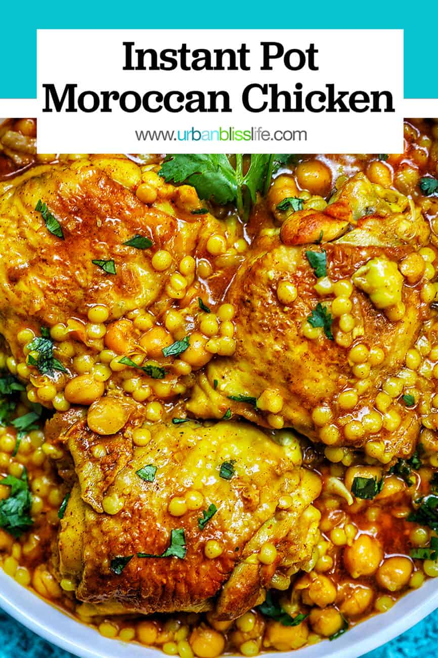 Instant Pot Moroccan Chicken with title text at top with blue bar