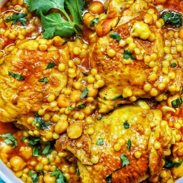 closeup of Instant Pot Moroccan Chicken in a bowl
