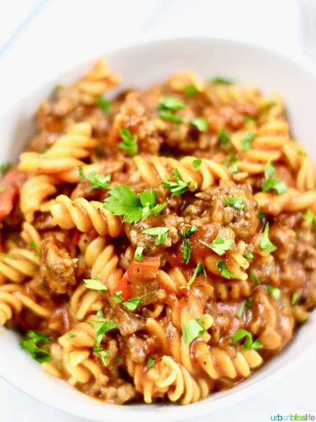 family friendly dinner idea: Instant Pot Sausage Peppers & Pasta