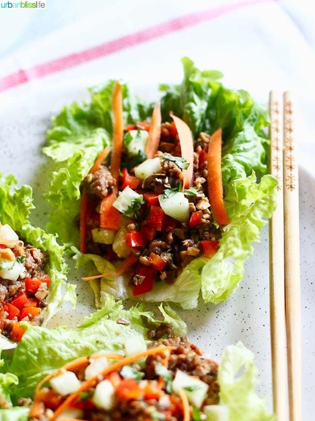 Low carb lettuce wraps overhead