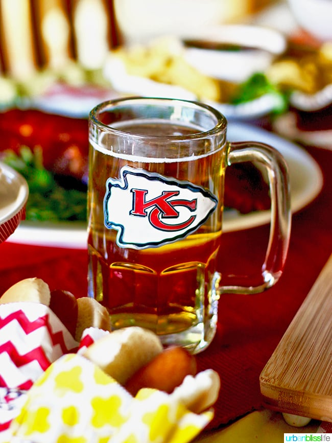 NFL KC Chiefs Beer Mug. Tips for Making Your Homegating Party a Touchdown! Ideas and Recipes on UrbanBlissLife.com