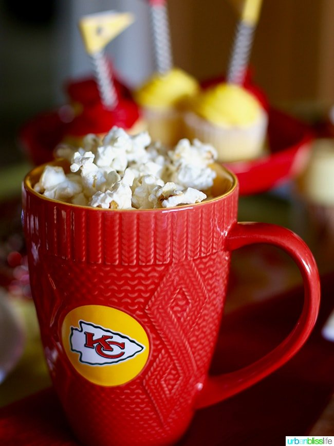 NFL KC Chiefs Mug with Popcorn - Game Day Food and Drink tips