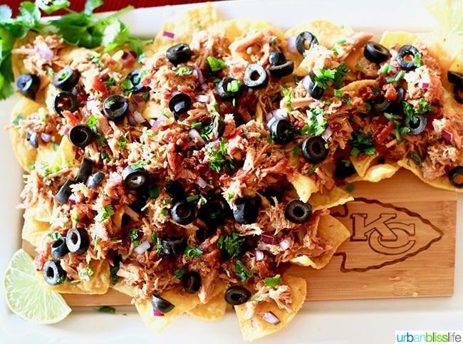 nachos on wood board