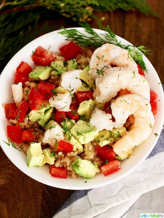 shrimp avocado brown rice bowl close up