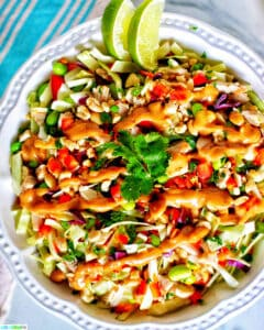 big bowl of Thai chicken salad with lime slices