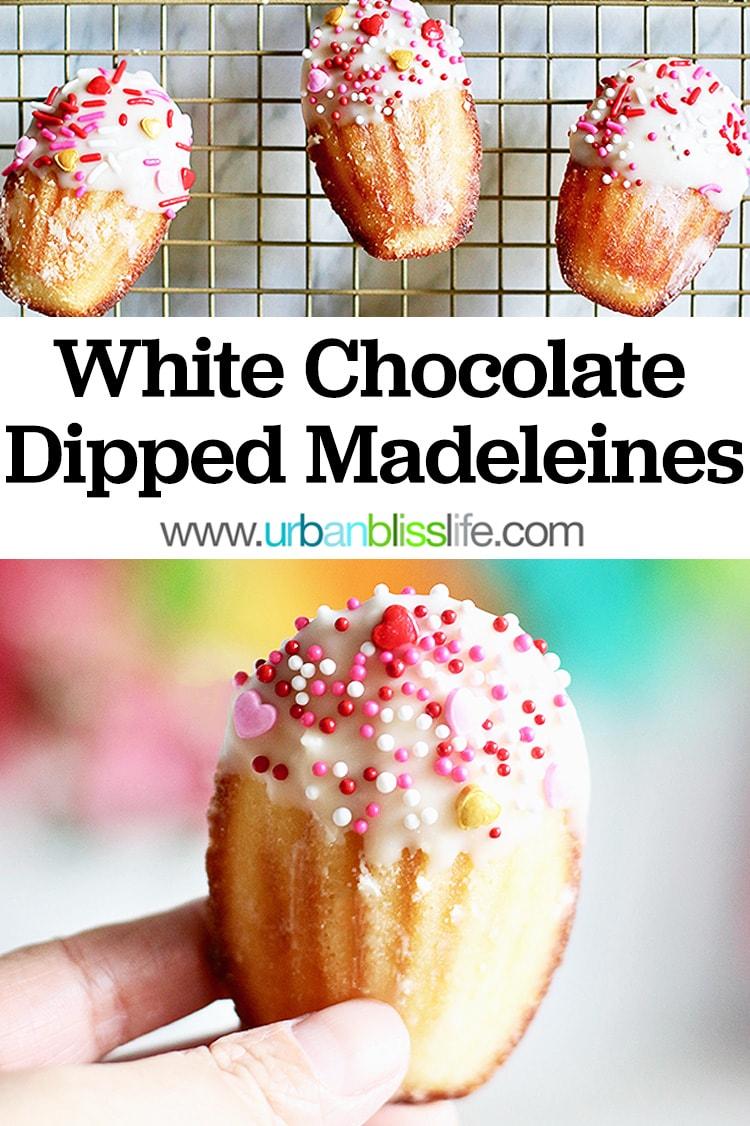 white chocolate dipped madeleine cookies