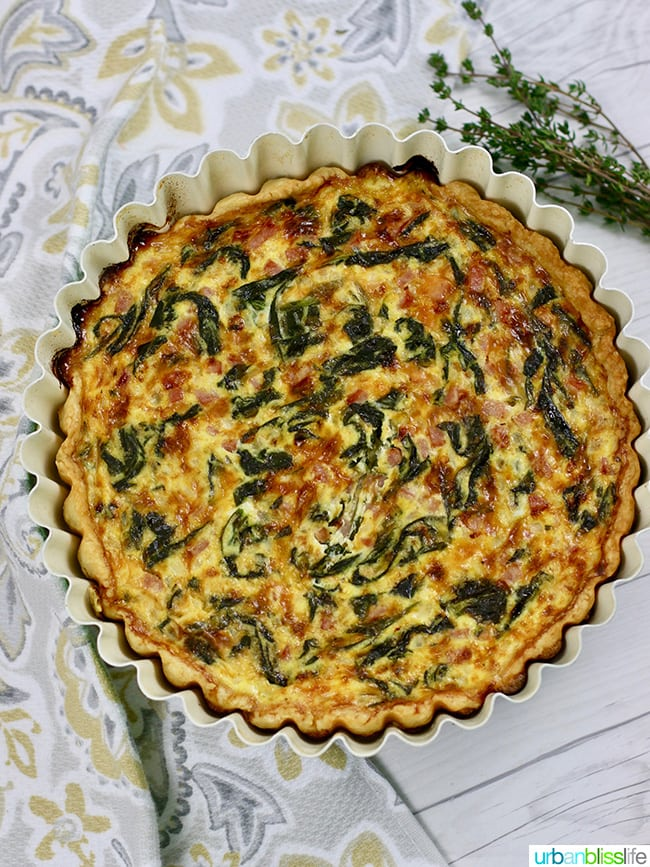 Ham Cheddar Spinach Quiche